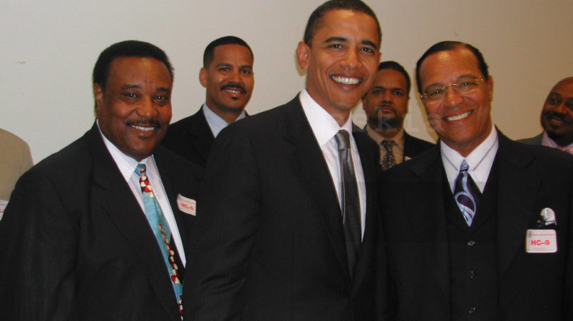 Sen. Barack Obama (D) and Nation of Islam leader Louis Farrakhan