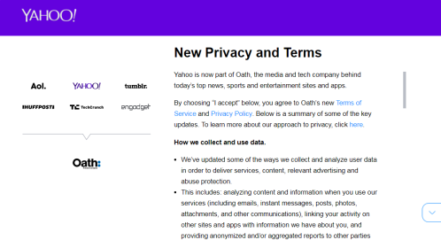Yahoo. Privacy update.