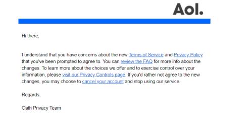 Yahoo feedback response.